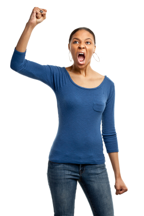 woman raising fist yelling