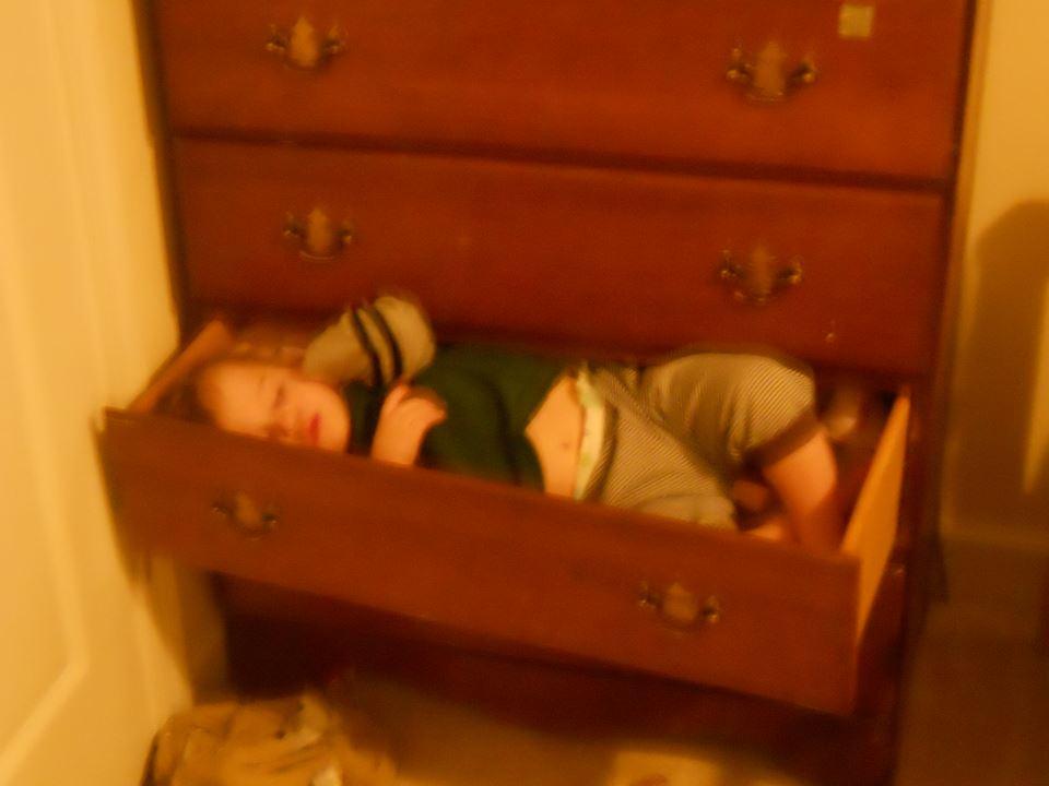 sleeping in dresser drawer