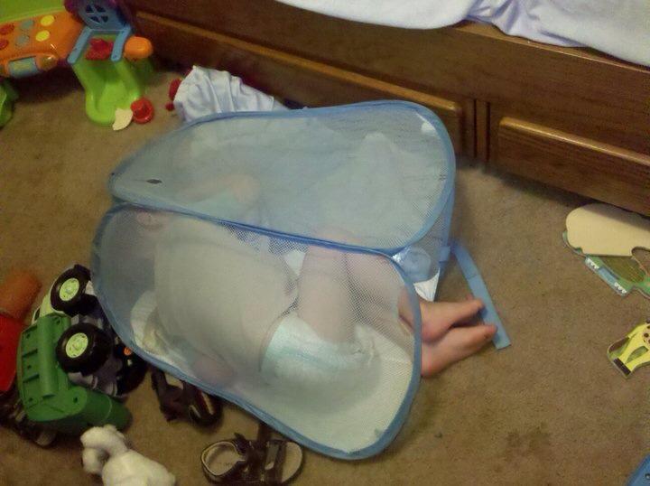 sleeping in mesh laundry hamper