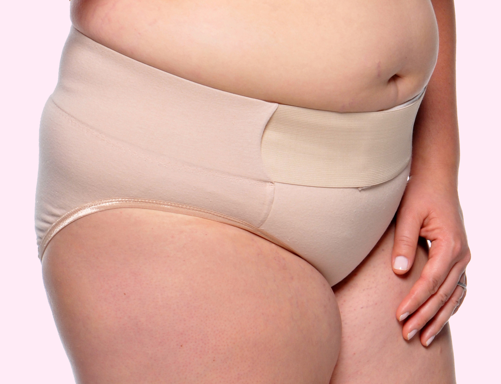 CezaraT Belly Support Panty #4000 after delivery with pink background