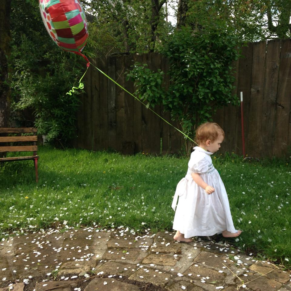 Child with birthday balloon