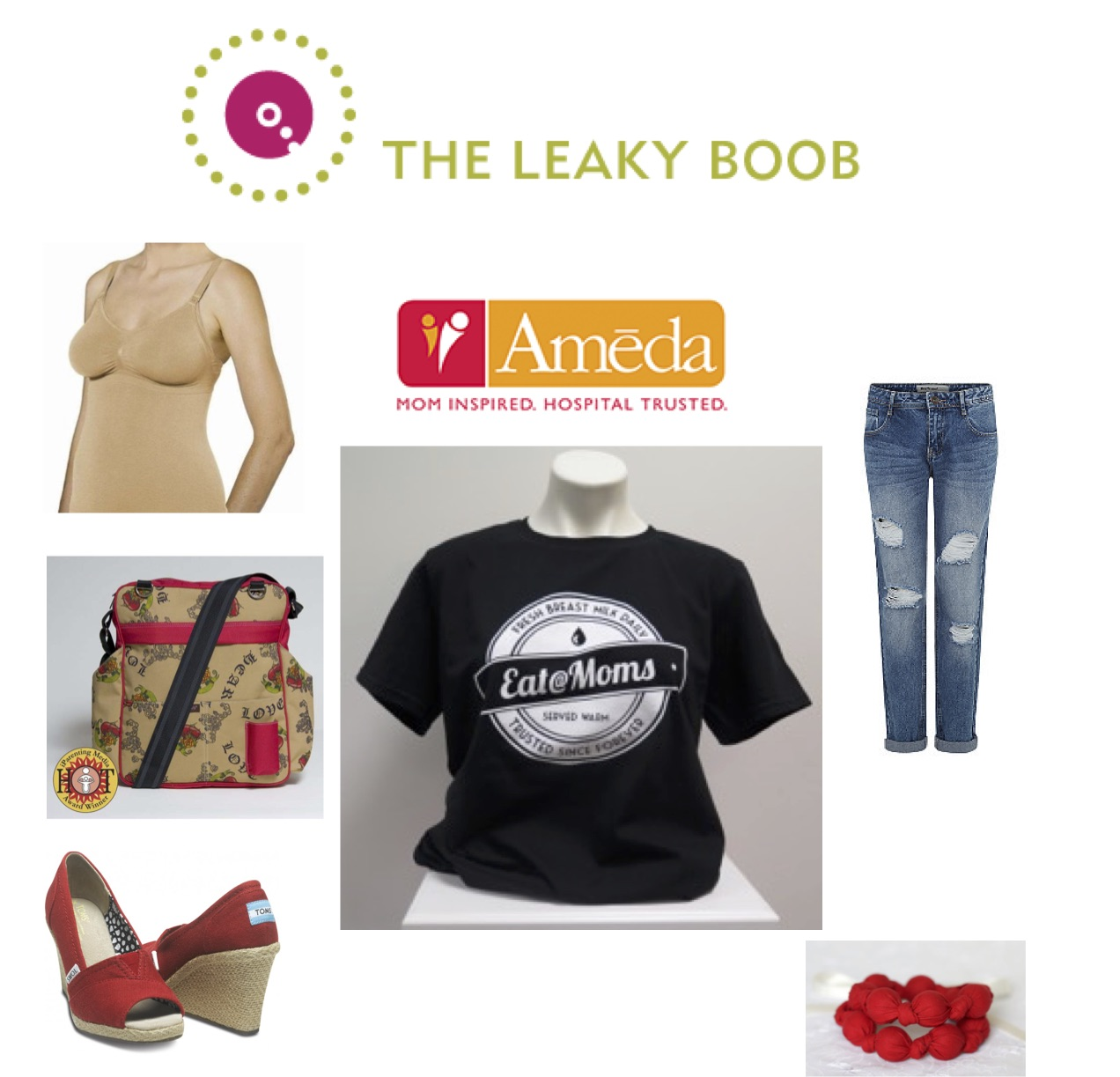 Ameda nursing tank, Eat@Moms shirt, Tom's High Heel Shoes, Vintage Honey Nursing Necklace, Luv My Bag