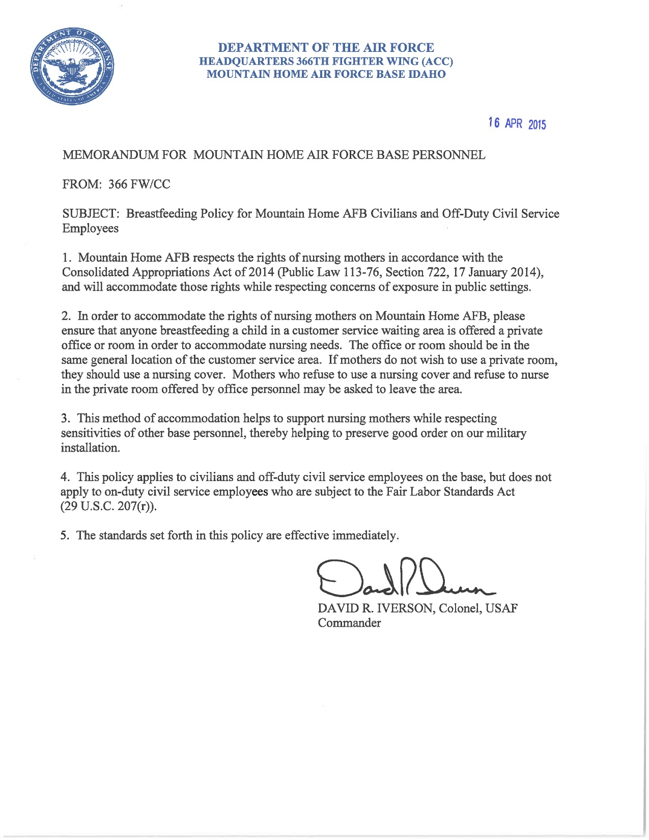 Mountain Home Air Force Base Breastfeeding policy memorandum
